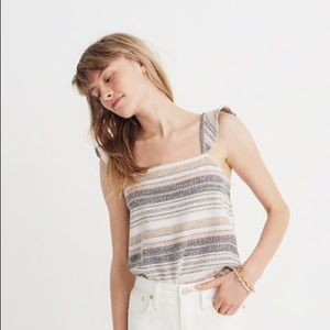Madewell Ruffle Strap Tank Top in Stripe, M